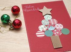 MIMOSORUM : Tarjeta de Navidad con Troqueles Homemade Christmas Cards, Christmas Art, Christmas Projects, Homemade Cards, Christmas Decorations, Christmas Ornaments, Holiday Activities, Holiday Crafts, Crafts For Seniors