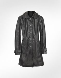 Forzieri Black Leather Trench Coat