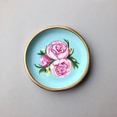 For the love of Peonies! This hand sculpted and painted trinket dish makes a great container and art display all in one. ( $55)#trinketdish#ringdish#jewelrydish