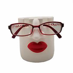Pen Holders, Office Gifts, Woman Face, Red Lips, Flower Pots, Sexy Women, Organization, Glasses, Organize