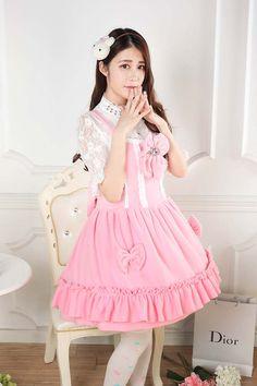 Sweet Lace Princess Strap Pink Velvet Autumn & Winter Sweet Lolita Dress JSK