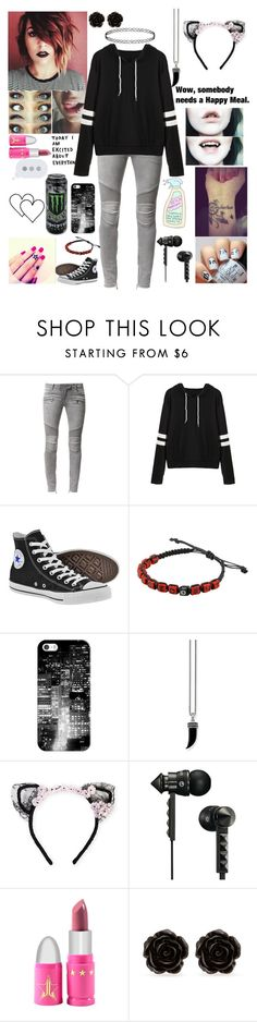 """""""Wow, somebody needs a happy meal"""" by emmcg915 ❤ liked on Polyvore featuring Balmain, Converse, Casetify, Thomas Sabo, MAISON MICHEL PARIS, Beats by Dr. Dre, Jeffree Star and Erica Lyons"""