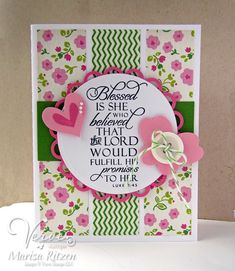 Handmade card by Marisa Ritzen using the Luke 1:45 verse stamp from the Scripture Medley 4 stamp set by Verve. #vervestamps #faithstamping