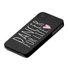 Dancer For Life Black with Heart Case-Mate iPhone 4 Cases, dance teacher, dance mom, dancer gift,