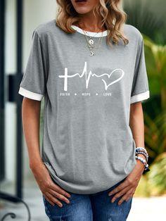 Bestdealfriday Faith Hope Love Women's T-Shirt, Grey-S