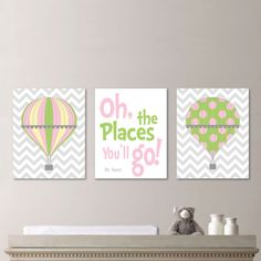 Hot Air Balloon Nursery - Hot Air Balloon Decor - Hot Air Balloon Print - Baby Girl Nursery Art Print, Girl Bedroom Art, Pink Green - NS-537...
