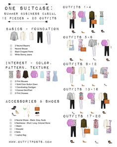 one suitcase checklist: summer business casual capsule wardrobe - Packing list