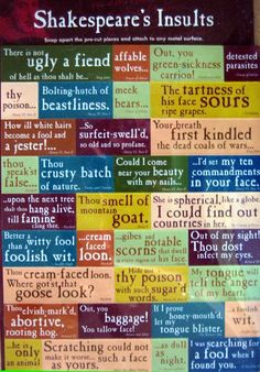 """""""You scullion! You rampallian! You fustilarian! I'll tickle your catastrophe!"""" ~Henry IV Part 2 (poster off some of Shakespeare's classic insults:-)"""