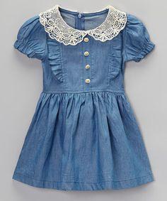 Look at this #zulilyfind! Sweet Cheeks Blue Denim Smocked Short-Sleeve Dress - Infant, Toddler & Girls by Sweet Cheeks #zulilyfinds