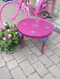 General Finishes Milk Paint creating a pop of colour outside the shop. www,shabby. Color Pop, Colour, Outdoor Tables, Outdoor Decor, General Finishes, Milk Paint, Quality Furniture, Unique Gifts, New Homes