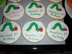 very hungry caterpillar birthday party cookies