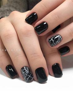 Black Nails Designs Inspirations 2019 The black nail designs are stylish. It is loved by beautiful women. Black nails are an elegant and chic choice. Color nails are suitable for almost every piece of clothing and matching occasions. Square Nail Designs, Black Nail Designs, Winter Nail Designs, Winter Nail Art, Short Nail Designs, Acrylic Nail Designs, Winter Nails, Nail Art Designs, Nails Design