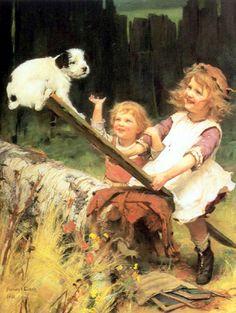 Playing On The See-Saw ~ Arthur John Elsley (1860 – 1952, English