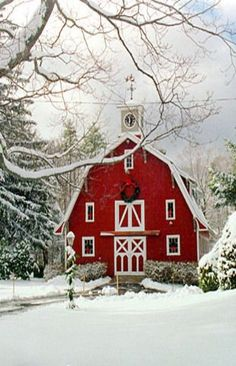 Lovely Winter Holiday photo as well as INTRIGUING ARCHITECTURE - DDO:) MOST POPULAR RE-PINS - http://www.pinterest.com... - Snow scene (actual photo, not a Christmas Card!) of lovely huge Christmas red barn with white trim and a Red Ribbon Christmas Wreath at hay loft level. Excellent photography composition of snowy tree branch in the foreground to give depth perception. www.DianaDeeOsbor...