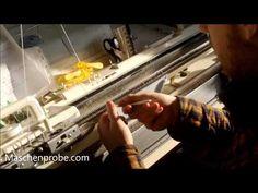 Socken auf der Strickmaschine stricken - doppeltes Bündchen - YouTube