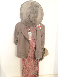Sandwich coral & taupe patterned dress was £89.00 now £79.95. Sandwich taupe linen jacket was £119.95 now £95.95. Unisa espadrilles was £79.90 now £69.95. Hatinator £59.95.