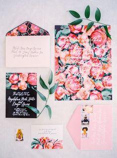 floral wedding invites, photo by Milton Photography ruffledblog.com/... #weddinginvitations #stationery #invitations