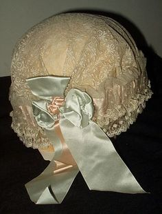 A Bed Cap From The 1920s via The Gatherings Antique Vintage: Lace, Silk, Satin  Ribbon