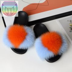 New Fashionable Female Winter Fox hair cotton slippers female indoor and outdoor warm cotton slippers plush slippers plush slipp – slipper&sandal wholesale Ugg Sandals, Slipper Sandals, Fur Slides, Fit S, Fox Fur, Little Gifts, Uggs, Fashion Shoes, Plush