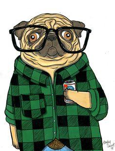 Hipster Pug @gregrosplock