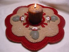 Snow Mittens - Wool Applique Candle Mat