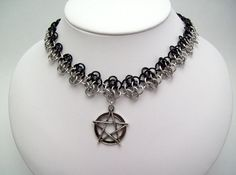 pagan, necklace, witch, jewelry, pentacle, choker, wicca, witchcraft, chainmaille necklace