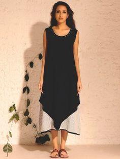 Black Natural Dyed Handwoven Double Layered Sleeveless Koraput Cotton Dress by Jaypore