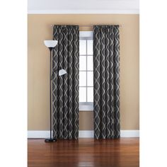 Mainstays Richland Stripe Room Darkening Polyester Curtain Panel, Gray