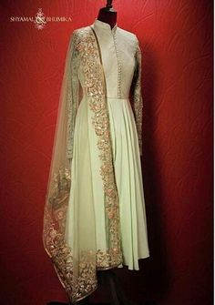Beautiful anarkali with gold lace