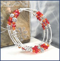 Handcrafted Fire Red Crystal Memory Wire Bracelet