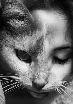 Child of the feline Photomontage, Kreative Portraits, Photographie Portrait Inspiration, Chesire Cat, A Level Art, Double Exposure, Crazy Cat Lady, Cat Art, Character Inspiration