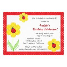 Flowers and ladybug birthday party invitations    http://www.zazzle.com/flowers_and_ladybug_birthday_party_invitations-161504385844425384?rf=238054730988202408