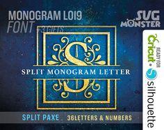 SPLIT LETTER svg Monogram split Font svg PAXE Cut File Vinyl Cutter Cricut Silhouette Wedding split Alphabet Ornate 119 by SVGmonster on Etsy