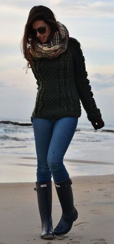 #preppy #fashion / Printed Scarf // Skinny Jeans // Dark Boots // Green Knit