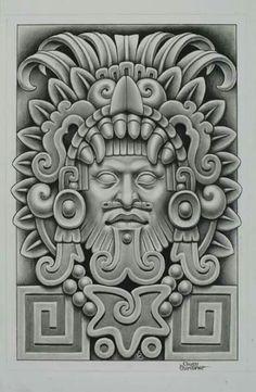 New art mexicano maya Ideas Mayan Tattoos, Mexican Art Tattoos, Cholo Art, Chicano Art, Dessin Aztec, Tattoo Mascara, Inka Tattoo, Aztec Warrior Tattoo, Aztec Drawing