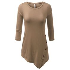 URBANCLEO Womens Hi-Lo V-Neck Long Sleeves Jersey Tunic Top Shirts ($21) ❤ liked on Polyvore featuring tops, tunics, long-sleeve shirt, v-neck tunic, jersey tunic, brown tunic and brown tops