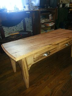 Beautiful Curly Maple Coffee Table with worm holes, shaker style legs, felt lined drawers, exotic wood! on Etsy, $1,200.00