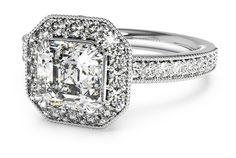 vintage halo asscher-cut engagement ring