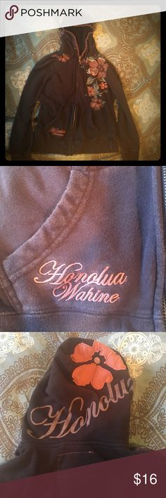 Honolua Wahine Hoodie I bought this cute hoodie at the Honolua Wahine boutique in Honolulu, HI. This hoodie features pretty Hawaiian flower details, Hawaii zipper pull, and flower & stitch detailing on the hood. Broken in for your comfort! This is a must-have on the beach over your bikini and worn with sunnies and beachy hair. Gently used condition with bleach spot on left arm. Honolua Wahine Jackets & Coats
