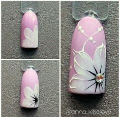 Oink And White Flower Nails Nailart & rosa und weiße blumen-nagel-kunst Oink And White Flower Nails Nailart & nail art designs Pretty. nail art designs For Winter. Nail Art Hacks, Gel Nail Art, Nail Art Diy, Easy Nail Art, Nail Manicure, Acrylic Nails, Gem Nails, Floral Nail Art, White Nail Art