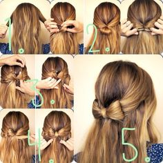 Hair Bow - can do up high Unique Hairstyles, Pretty Hairstyles, Popular Hairstyles, Short Hairstyles, Front Hair Styles, Curly Hair Styles, Pinterest Hair, Ombre Hair, Hair Designs