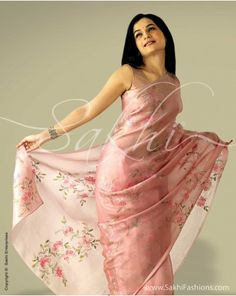 Pastel pink organza silk with shadow work embroidery and sequins on floral motifs