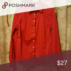 Banana Republic Non Iron Fitted Button Down Like new, bright red! Banana Republic Tops Button Down Shirts
