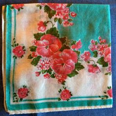 Hankercheif is Vintage With Vibrant Colors of Reds, Pinks, Blues and Green Flowers.  Made of Cotton P9) by AntiqueCarla on Etsy $3.50