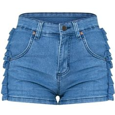 Mid Wash Ruffle Denim Shorts ($35) ❤ liked on Polyvore featuring shorts, ruffle shorts, flounce shorts, frilly shorts, denim shorts and short jean shorts