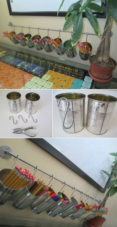 DIY Organization : DIY Tin Can Pencil Holders for your kids study desk Really nice idea and design! Kids Study Desk, Cool Desk Accessories, Bathroom Accessories, Hair Accessories, Diy Rangement, Tin Can Crafts, Diy Crafts, Garden Crafts, Stick Crafts