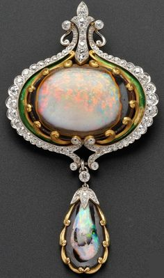 Art Nouveau Opal, Diamond, and Enamel Brooch, Marcus & Co., centring an opal matrix cabochon within a scrollwork frame, and suspending a conforming drop, set with seventy-six old mine- and old European-cut diamonds, approx. total wt. 4.00 cts., platinum and 18kt gold mount, lg. 3 3/4 in., signed. #Marcus #ArtNouveau #brooch