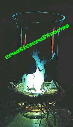 Deer etched vase tea light vase flower vase by CreativeCraftRooms