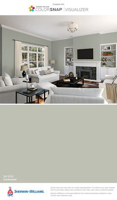 I found this color with ColorSnap® Visualizer for iPhone by Sherwin-Williams: Contented (SW 6191).