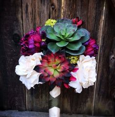 Silk Bridal Bouquet with Blush Roses, Faux Succulents, Magenta Peonies, Lime Viburnum & a Free Matching Boutonniere. $128.00, via Etsy. NEED
